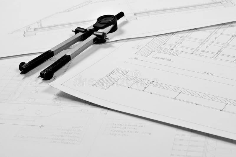 Plannen van een gebouw stock foto