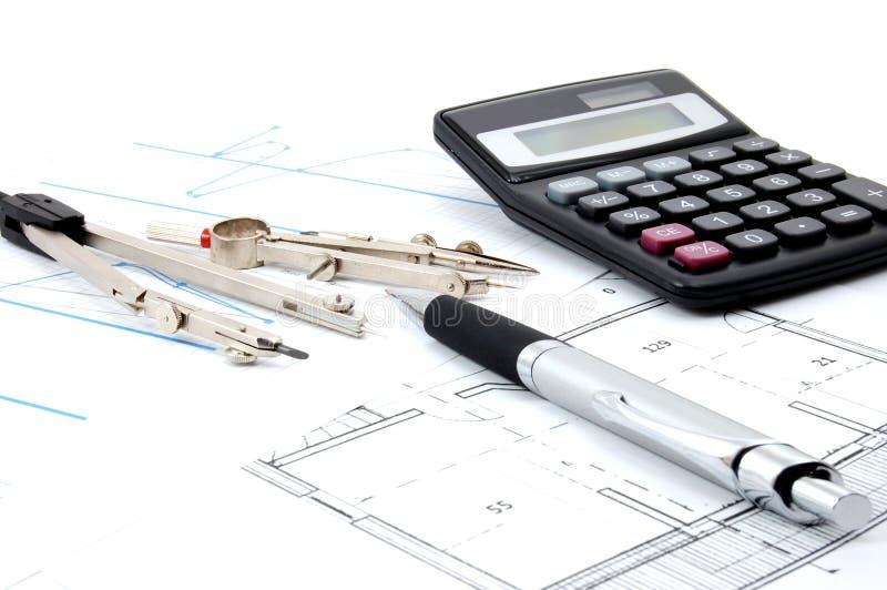 Plannen voor architectuur stock afbeeldingen