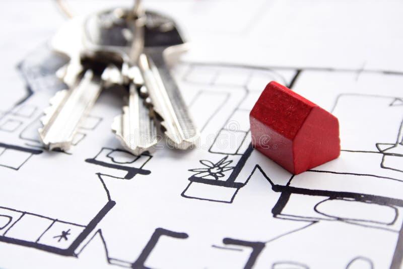 Plannen voor nieuw huis stock afbeelding