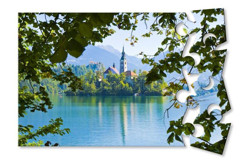 Plannend een reis aan Afgetapt meer, het beroemdste meer in Sloveni? met het eiland van de kerk Europa - Sloveni? - Concept mage  stock foto