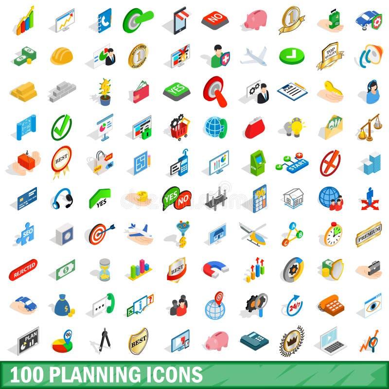 100 plannend geplaatste pictogrammen, isometrische 3d stijl royalty-vrije illustratie