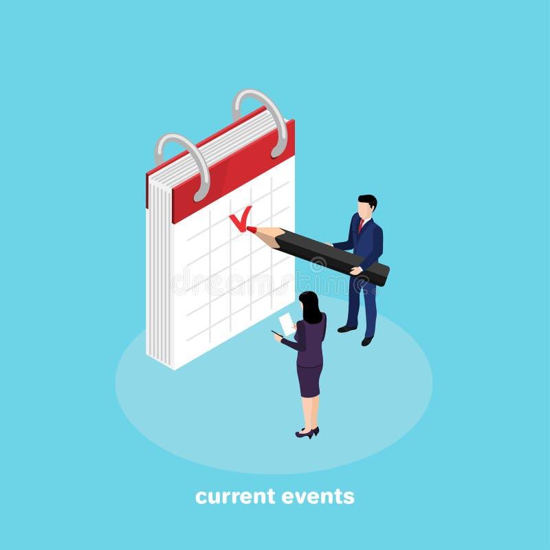 Plannende toekomstige gebeurtenissen en het merken in de kalender vector illustratie
