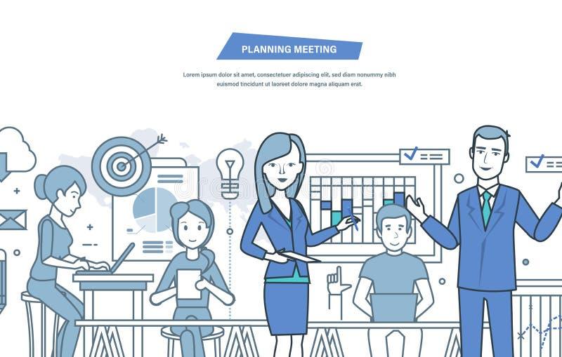 Plannende vergadering Bureauvergadering, organisatie bedrijfs het werkproces, groepswerk royalty-vrije illustratie