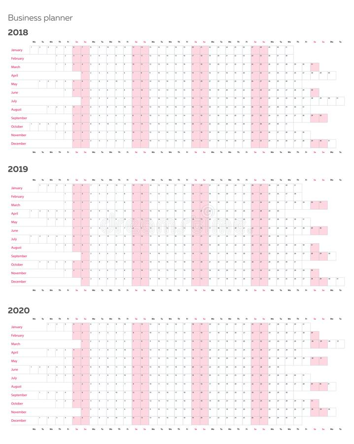 Business planner calendar vector template for 2018 2019 2020 years royalty free illustration