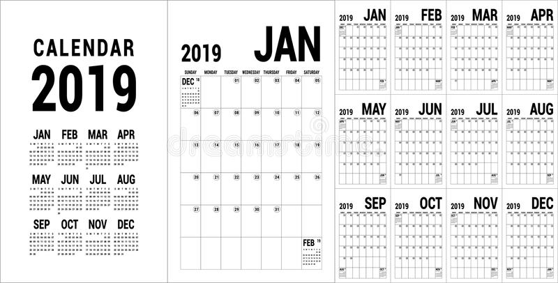 Planner 2019. English calendar template. Vector calender grid. O. Ffice business planning. Simple black and white design stock illustration