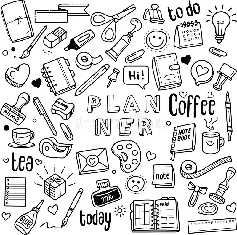 Planner and Journal. Vector doodles royalty free illustration