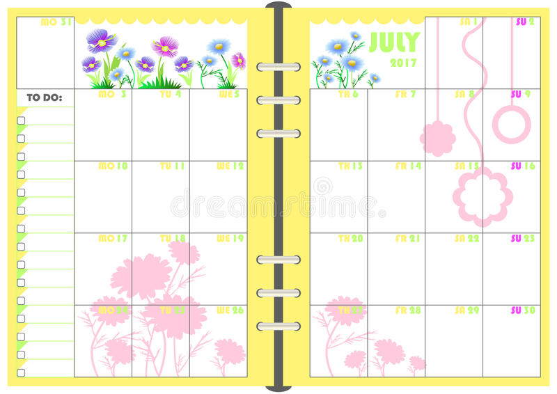 Download Daily Planner July 2017 Stock Vector. Illustration Of Objects    83046516  Planner Format