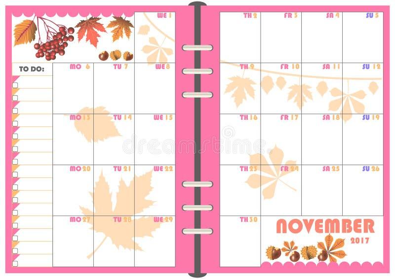 daily planner november 2017 stock illustration