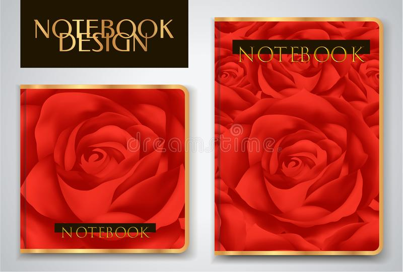 Cover designI of Notebook/ Planner with red roses stock illustration