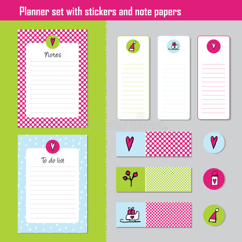 Planner set. Note paper, Notes, to do list. Organiser planner te vector illustration