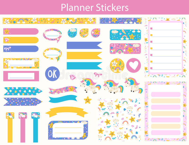 Planner stickers with cute Unicorn royalty free illustration