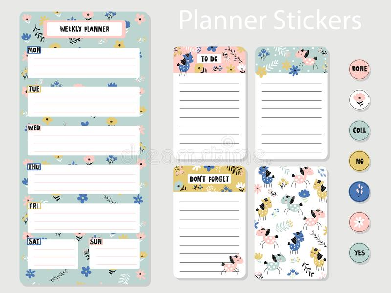 Planner stickers with horses and flowers stock illustration