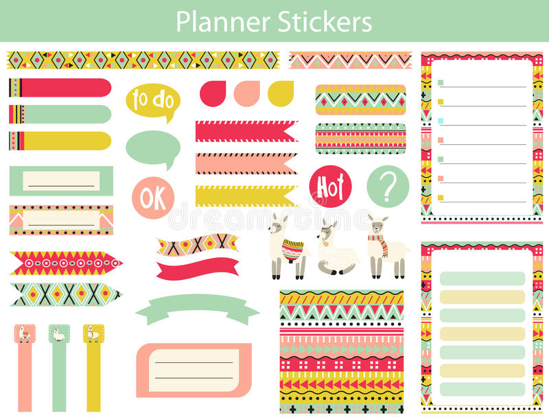 Planner stickers with lama and Aztec patterns vector illustration