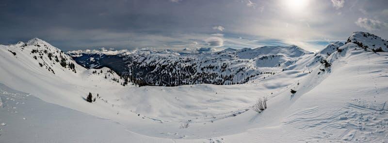 Planneralm skiing resort in winter,  Austrian Alps. Snowy peaks, Planneralm skiing resort in winter, Austrian Alps stock photo