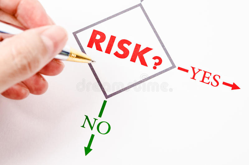 Planning the business risk. Planning the business risk with hand holding pen stock photo