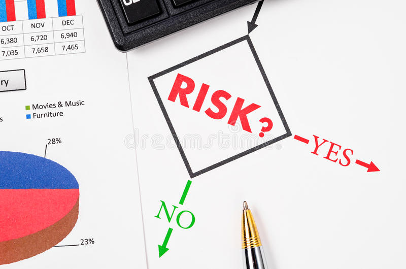 Planning the business risk. Planning the business risk with pen and flowchart at work royalty free stock image