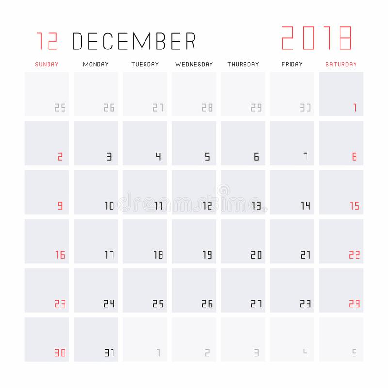 Download Calendar December 2018 stock vector. Illustration of english - 100097940