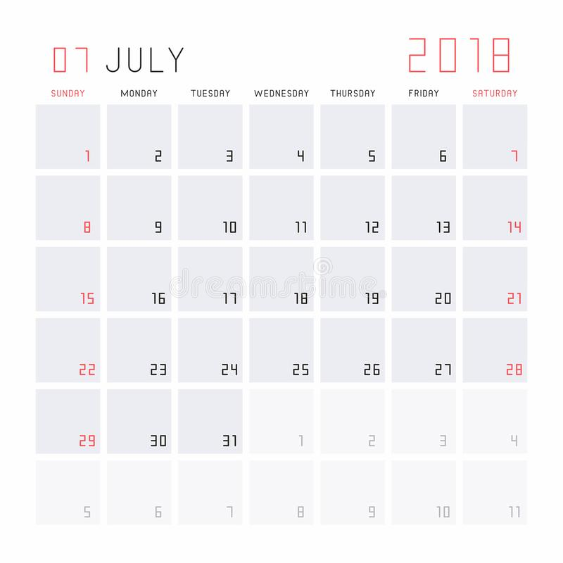 Calendar July 2018 royalty free illustration
