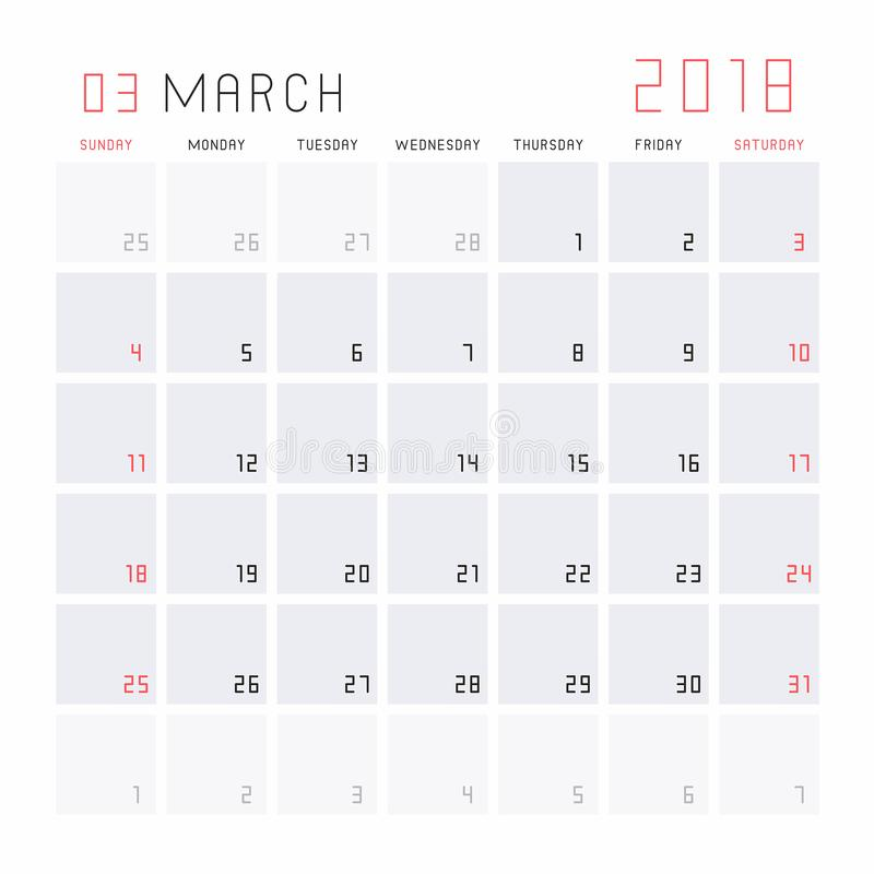 Download Calendar March 2018 stock vector. Illustration of journal - 100098205