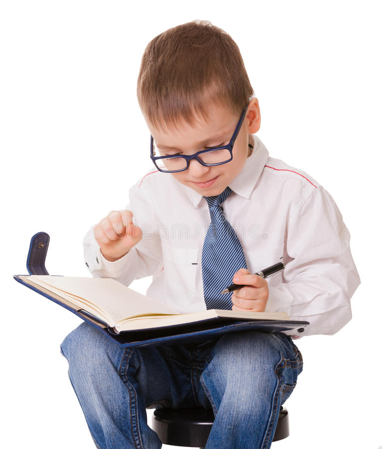 Planning clever kid on white background royalty free stock images