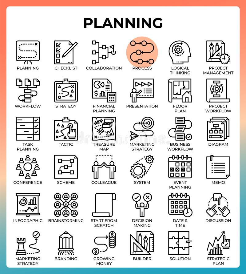 Planning concept icon set. In modern line icon style for ui, ux, web, mobile app design, etc stock illustration