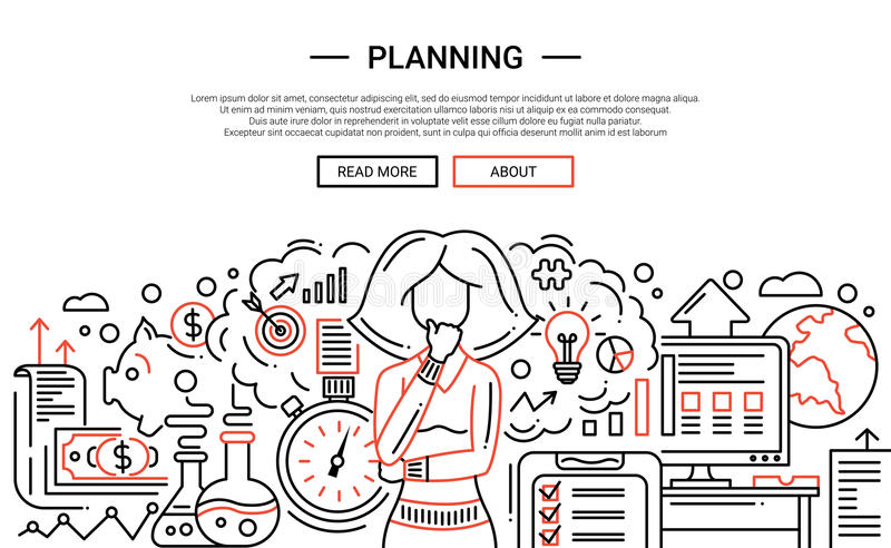 Planning - de websitebanner van het lijnontwerp temlate royalty-vrije illustratie
