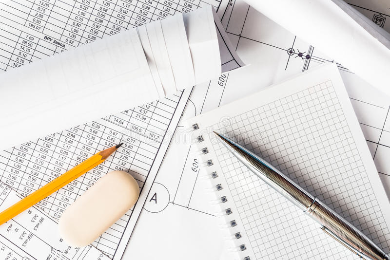 Planning the design works royalty free stock image
