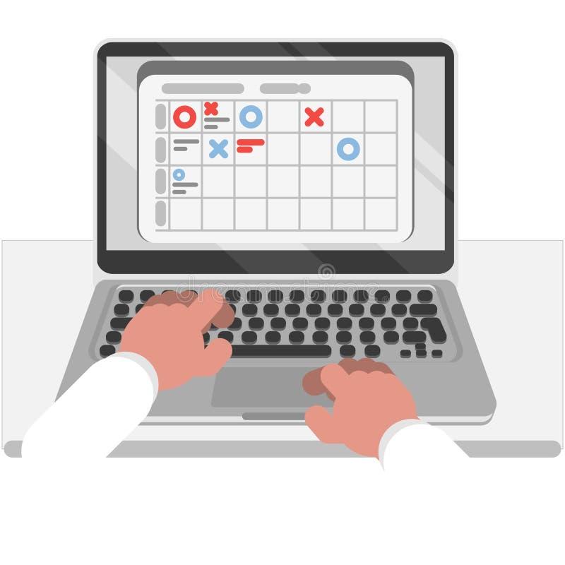 Planning en organisatie op laptop vector illustratie