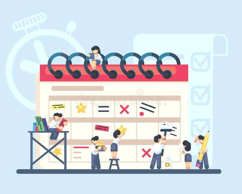 Planning en organisatie van taken aan boord van kalender De groep bedrijfsmensen maakt plan Vector vlakke illustratie royalty-vrije illustratie