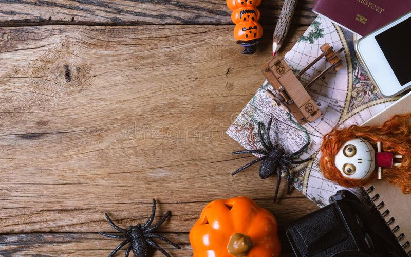Planning Halloween destination travelling concept. Top view wit royalty free stock photography