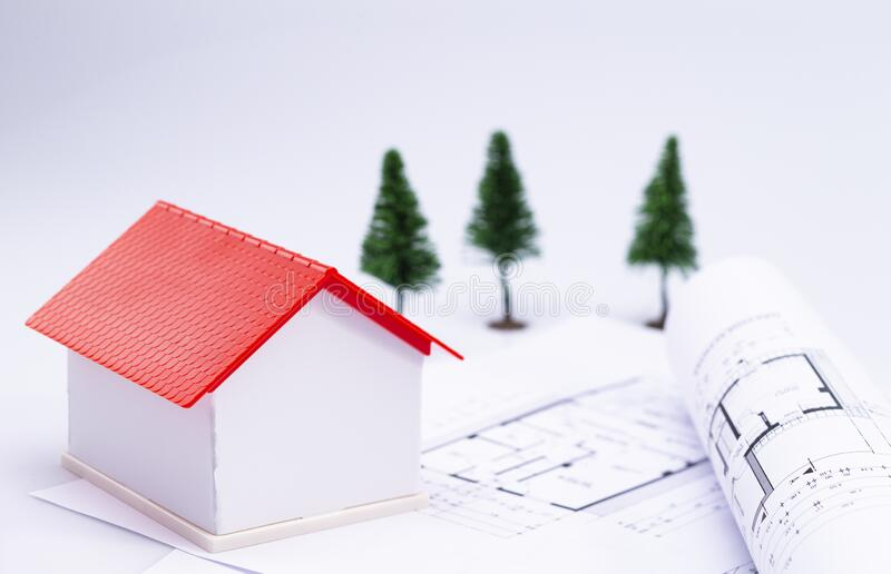 Planning of house construction stock photography