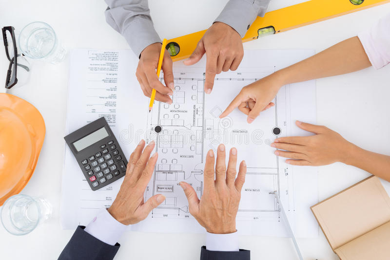 Planning a house project stock images