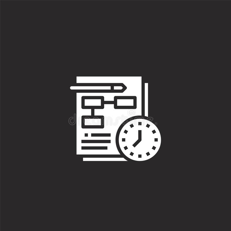 Planning icon. Filled planning icon for website design and mobile, app development. planning icon from filled seo collection. Isolated on black background stock illustration