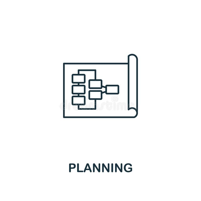 Planning icon. Thin outline creativePlanning design from soft skills collection. Web design, apps, software and print stock illustration