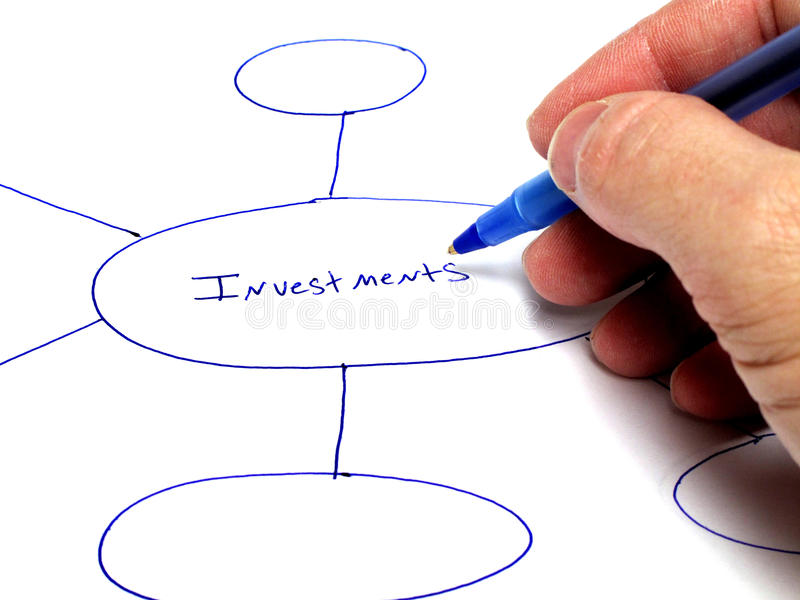 Planning Investments. Person writing notes on paper about plans for investments stock photography