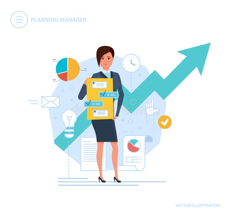 Planning manager. Clerk engaged control, time management, planning business objectives. stock illustration