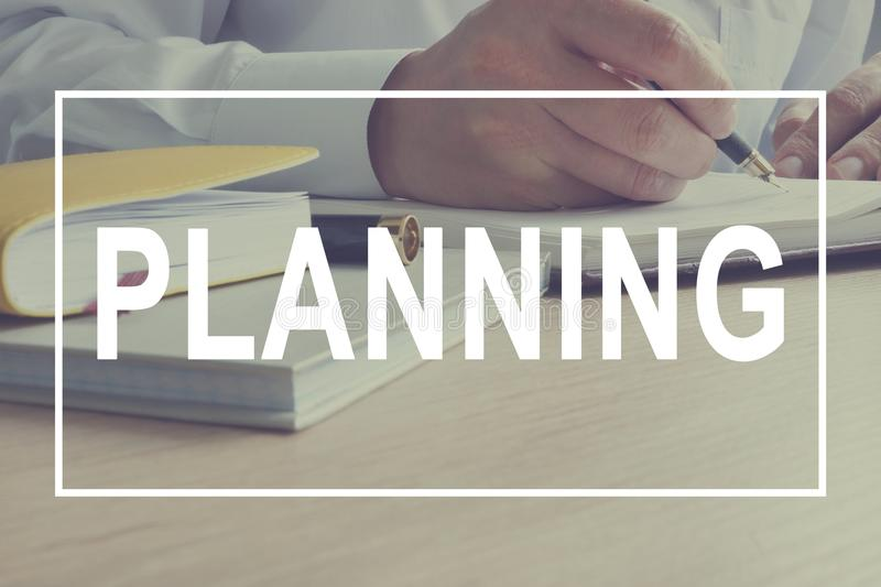 Planning. Manager at work. Strategy of direction of action. stock images