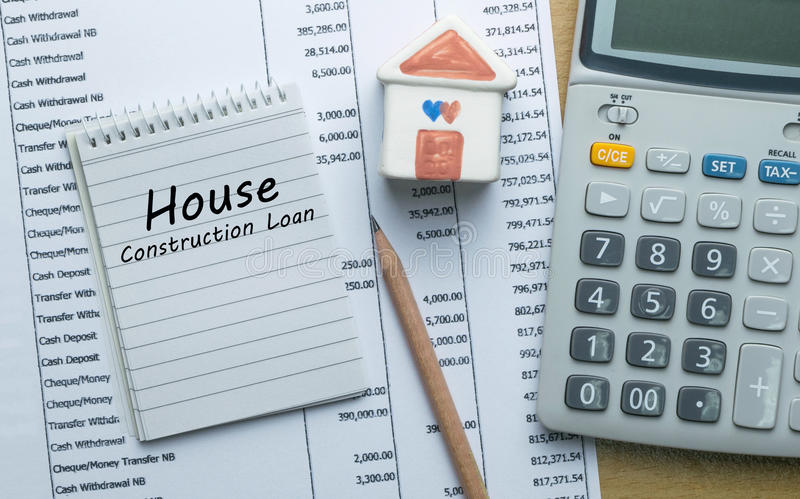 Planning monthly House construction loan. Finance concept stock photos