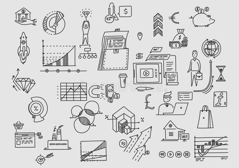 Planning, office, earnings, development and investing. Business doodles. stock illustration