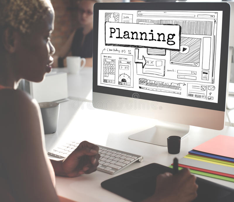 Planning Progress Solutions Guide Design Concept stock photo