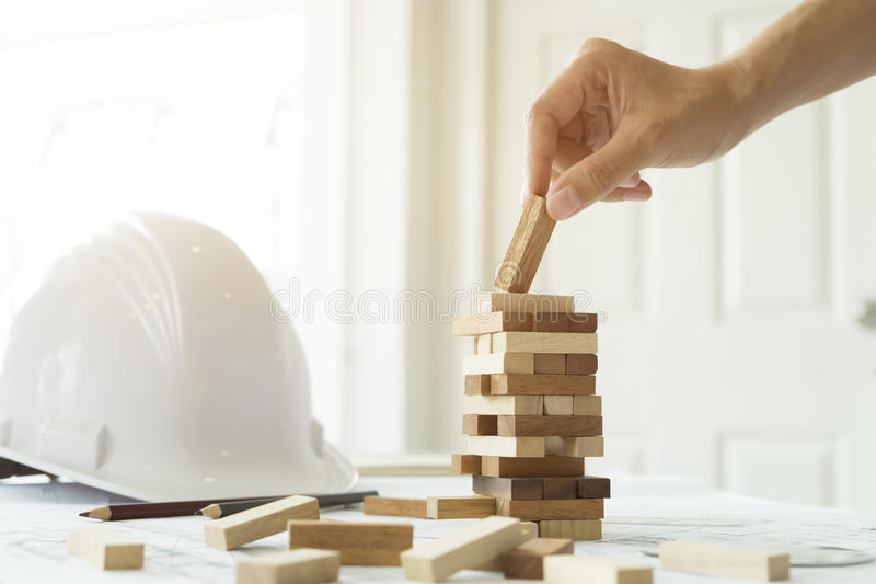 Planning, risk and strategy of project management in business stock photography