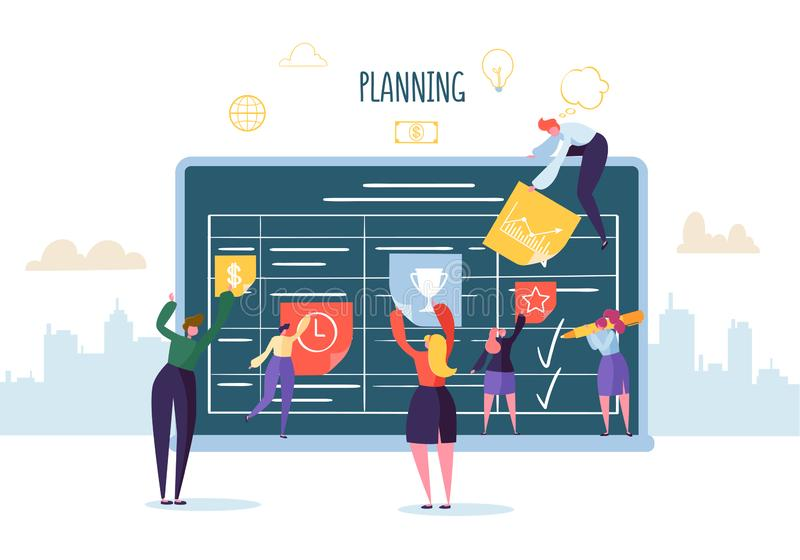 Planning Schedule Concept with Business Characters Working with Planner. Team Work Together. Flat People Teamworking stock illustration