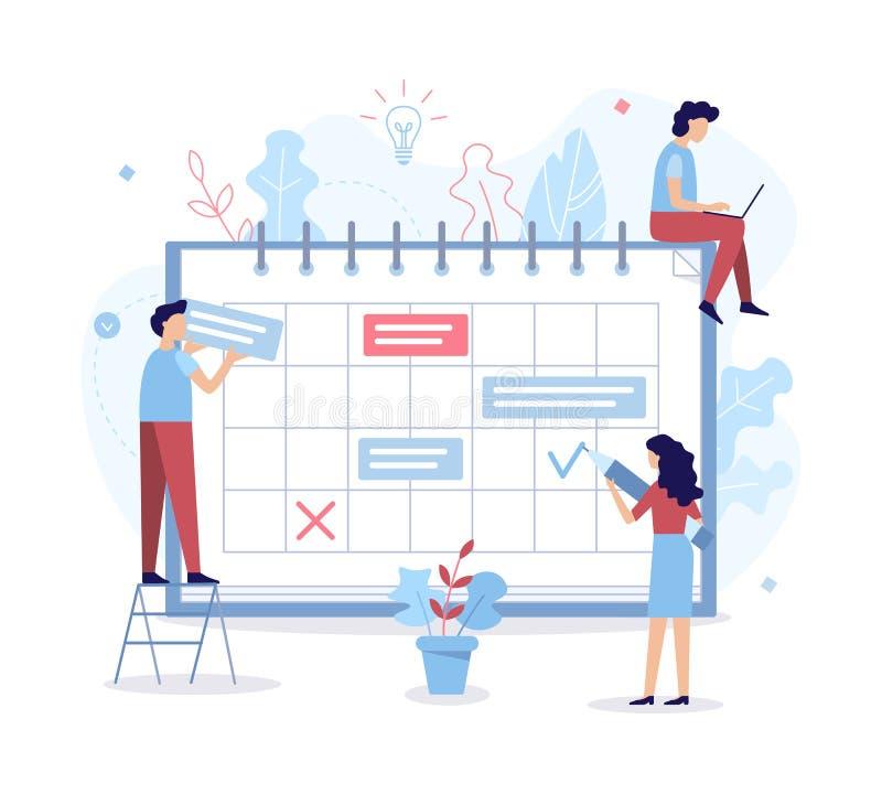 Planning schedule concept. The development team sets the project tasks on the calendar. Planning schedule. Time management concept. Flat vector illustration vector illustration