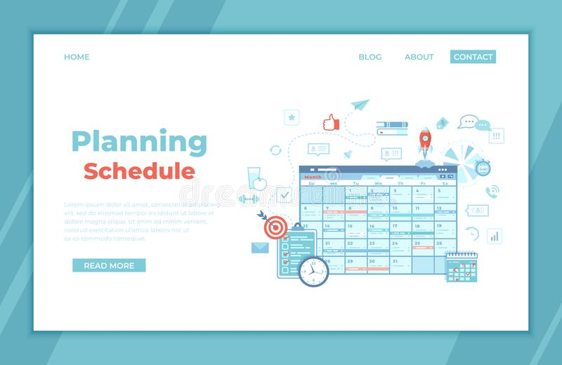 Planning Schedule Online web page interface planner, organizer, calendar, project plan with tasks and reminders. App, strategic, royalty free illustration