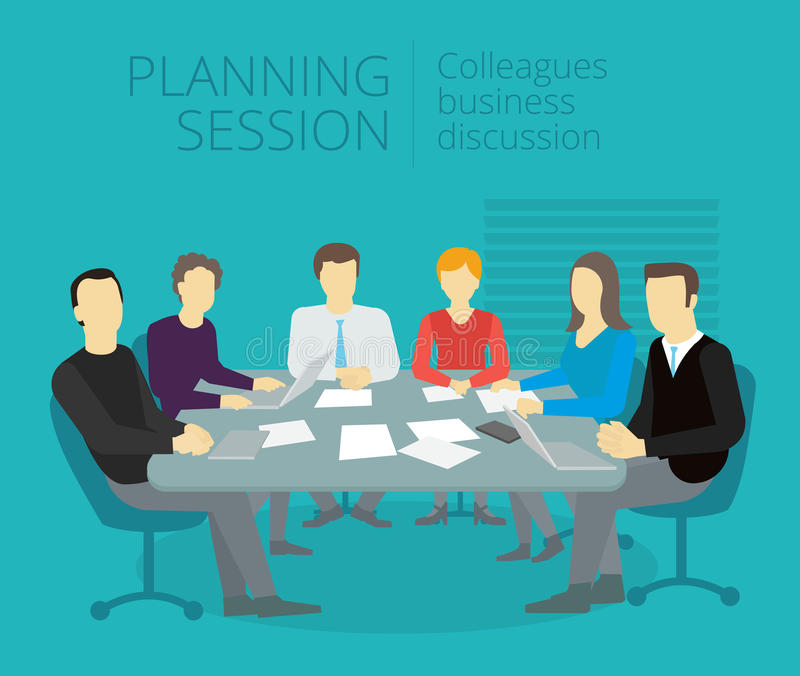 Planning session People work at the table stock illustration