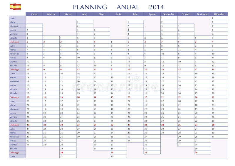 Download Planning 2014 spanish stock vector. Image of july, illustration - 36359743