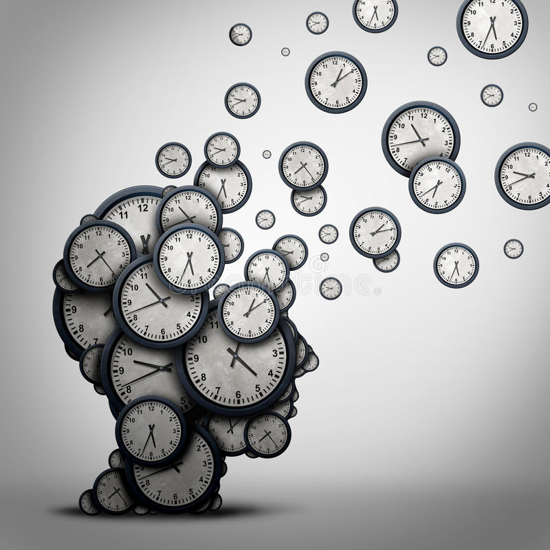 Planning Time Concept. Planning time business concept or wasting minutes as a group of timepieces or clocks shaped as a human head as a health symbol for stock illustration