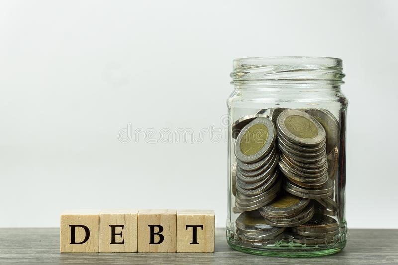Planning to collect money to pay outstanding debts concept stock images