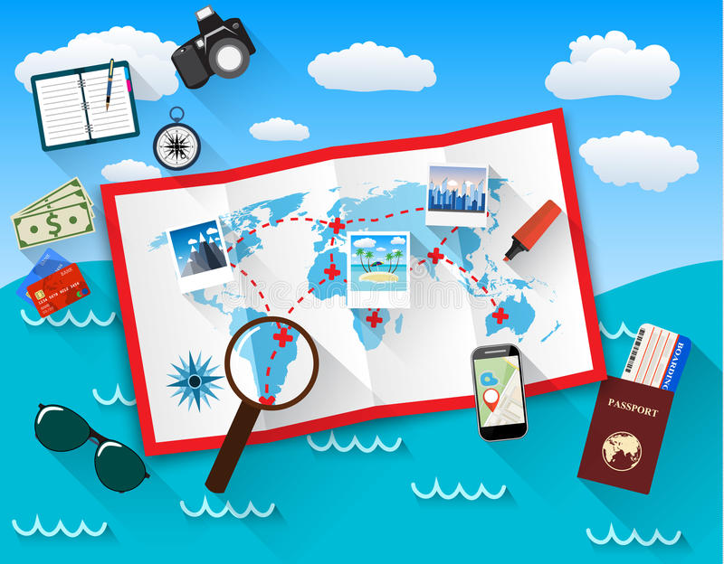 Planning trip concept at table with paper map of world, magnifier, pen, passport, airplane ticket, photo camera photos. Sticky notes. vector illustration in vector illustration
