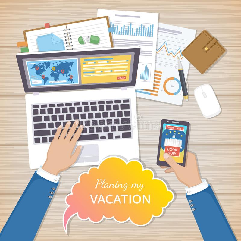 Planning Vacation Concept. Businessman at work plans his summer vacation. Mobile applications, web site on the smartphone. And laptop screen, booking in advance vector illustration